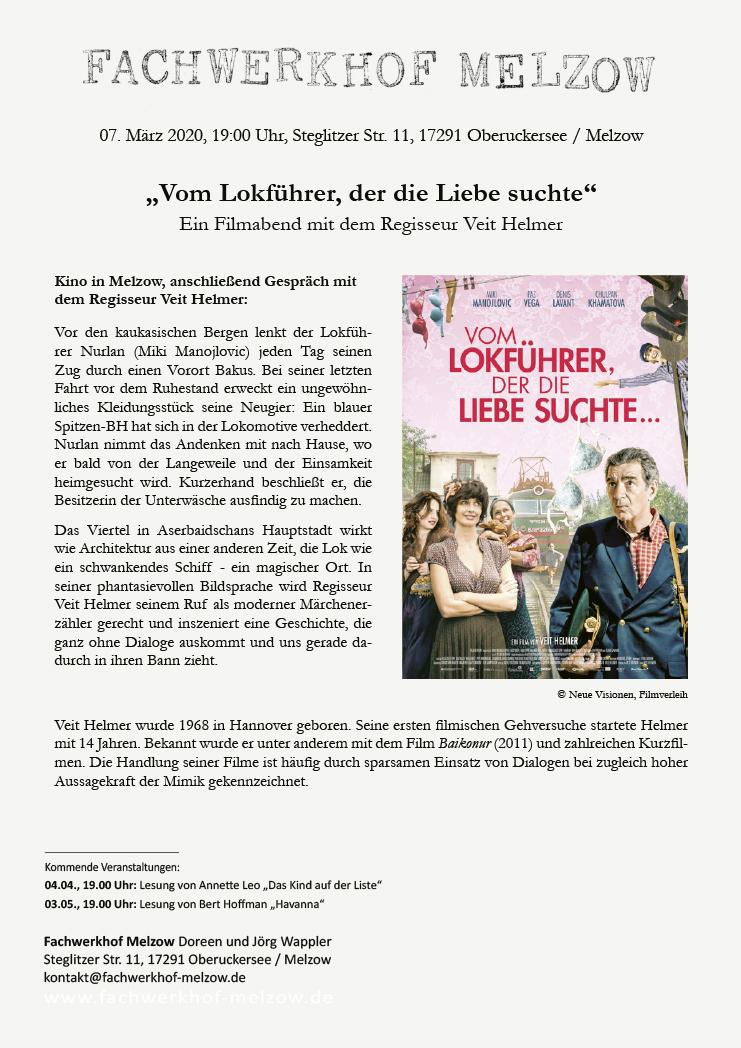"""Einladung Filmabend, """"Vom Lokführer der die Liebe suchte"""""""